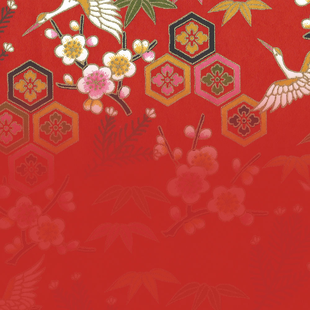 collage of red decorative paper and text
